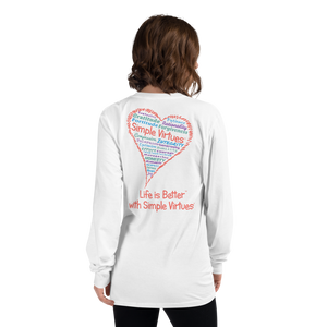 "White ""Heart Full of Virtues"" Long-Sleeve T-shirt"