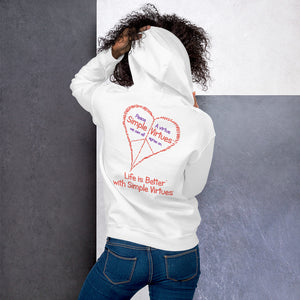 "White ""Peace Heart"" Unisex Hoodie"