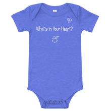 "Load image into Gallery viewer, Heather Blue ""Heart Full of Virtues"" Baby Onesie"