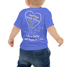 "Load image into Gallery viewer, Blue ""HeartSteps"" Baby Short Sleeve Tee"