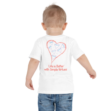 "Load image into Gallery viewer, White ""Hearts Aloft"" Toddler Short Sleeve Tee"