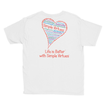 "Load image into Gallery viewer, White ""Heart Full of Virtues"" Youth Unisex T-Shirt"