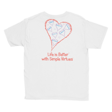 "Load image into Gallery viewer, White ""Hearts Aloft"" Youth Unisex T-Shirt"
