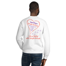 "Load image into Gallery viewer, White ""HeartSteps"" Unisex Sweatshirt"