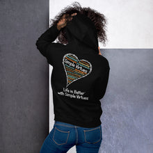 "Load image into Gallery viewer, Black ""Heart Full of Virtues"" Unisex Hoodie"