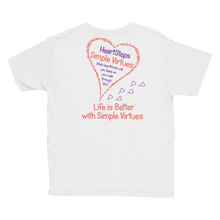 "Load image into Gallery viewer, White ""HeartSteps"" Youth Unisex T-Shirt"