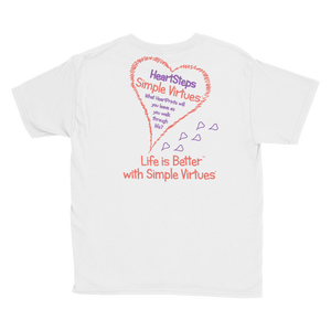 "White ""HeartSteps"" Youth Unisex T-Shirt"