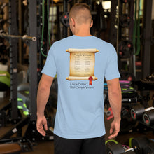 "Load image into Gallery viewer, Light Blue ""Scroll of Virtues"" Short-Sleeve Unisex T-Shirt"