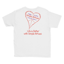 "Load image into Gallery viewer, White ""Peace Heart"" Youth Unisex T-Shirt"