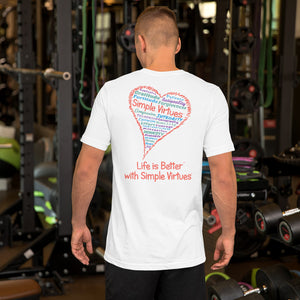 "White ""Heart Full of Virtues"" Short-Sleeve Unisex T-Shirt"
