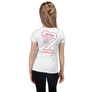 "White ""HeartSteps"" Girl's Cut Slim Fit T-Shirt"
