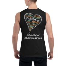 "Load image into Gallery viewer, Black Men's ""Heart Full of Virtues"" Muscle Shirt"