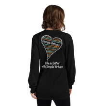 "Load image into Gallery viewer, Black ""Heart Full of Virtues"" Long-Sleeve T-shirt"
