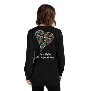 "Black ""Heart Full of Virtues"" Long-Sleeve T-shirt"