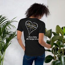 "Load image into Gallery viewer, Black ""Peace Heart"" Short-Sleeve Unisex T-Shirt"