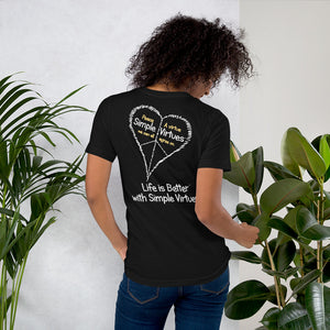 "Black ""Peace Heart"" Short-Sleeve Unisex T-Shirt"