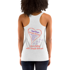 "Heather White Women's ""HeartSteps"" Racerback Tank"