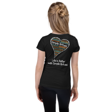 "Load image into Gallery viewer, Black ""Heart Full of Virtues"" Girl's Cut Slim Fit T-Shirt"