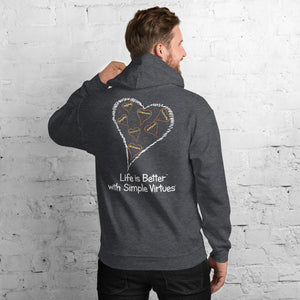 "Dark Heather Men's ""Hearts Aloft"" Unisex Hoodie"