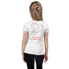 "Load image into Gallery viewer, White ""Hearts Aloft"" Girl's Cut Slim Fit T-Shirt"