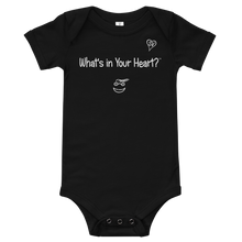 "Load image into Gallery viewer, Black ""HeartSteps"" Baby Onesie"