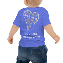 "Load image into Gallery viewer, Blue ""Heart Full of Virtues"" Baby Short Sleeve Tee"