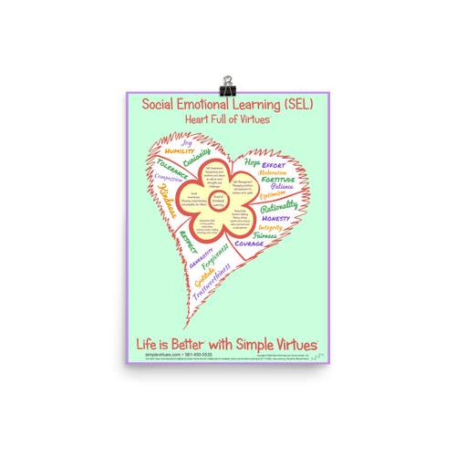 SEL Flower in Heart Full of Virtues Poster <br /> 12