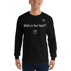 "Black ""Heart Full of Virtues"" Men's Long-Sleeve T-shirt"