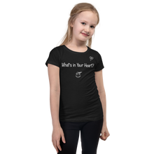 "Load image into Gallery viewer, Black ""HeartSteps"" Girl's Cut Slim Fit T-Shirt"