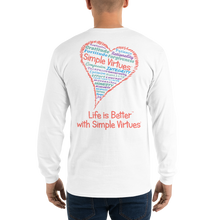 "Load image into Gallery viewer, White ""Heart Full of Virtues"" Men's Long-Sleeve T-shirt"