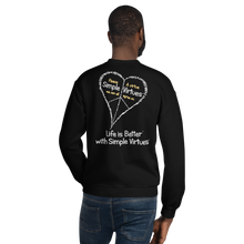 "Load image into Gallery viewer, Black ""Peace Heart"" Unisex Sweatshirt"