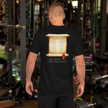 "Load image into Gallery viewer, Black ""Scroll of Virtues"" Short-Sleeve Unisex T-Shirt"