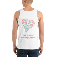 "Load image into Gallery viewer, White Men's ""Heart Full of Virtues"" Tank Top"