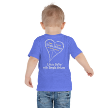 "Load image into Gallery viewer, Heather Blue ""Peace Heart"" Toddler Short Sleeve Tee"