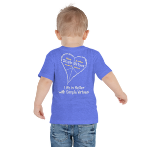"Heather Blue ""Peace Heart"" Toddler Short Sleeve Tee"