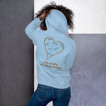 "Load image into Gallery viewer, Light Blue ""Hearts Aloft"" Unisex Hoodie"