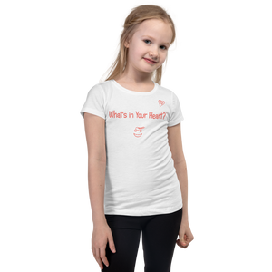 "White ""Hearts Aloft"" Girl's Cut Slim Fit T-Shirt"