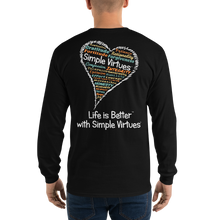 "Load image into Gallery viewer, Black ""Heart Full of Virtues"" Men's Long-Sleeve T-shirt"
