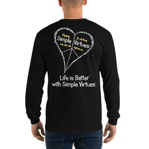 "Black ""Peace Heart"" Men's Long-Sleeve T-shirt"