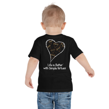 "Load image into Gallery viewer, Black ""Hearts Aloft"" Toddler Short Sleeve Tee"