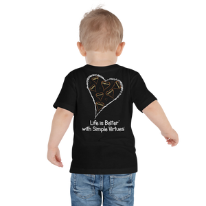 "Black ""Hearts Aloft"" Toddler Short Sleeve Tee"