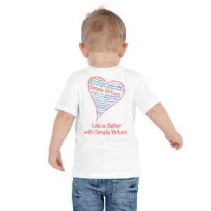 "White ""Heart Full of Virtues"" Toddler Short Sleeve Tee"