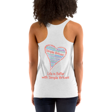 "Load image into Gallery viewer, Heather White Women's ""Heart Full of Virtues"" Racerback Tank"