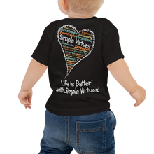 "Load image into Gallery viewer, Black ""Heart Full of Virtues"" Baby Short Sleeve Tee"