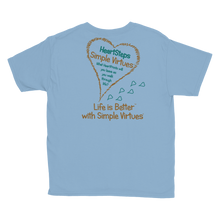 "Load image into Gallery viewer, Light Blue ""HeartSteps"" Youth Unisex T-Shirt"
