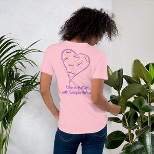 "Pink ""Hearts Aloft"" Short-Sleeve Unisex T-Shirt"