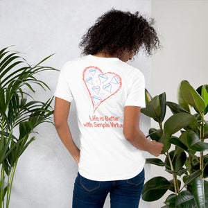 "White ""Hearts Aloft"" Short-Sleeve Unisex T-Shirt"