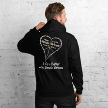 "Load image into Gallery viewer, Black ""Peace Heart"" Unisex Hoodie"