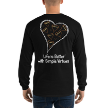 "Load image into Gallery viewer, Black ""Hearts Aloft"" Men's Long-Sleeve T-shirt"