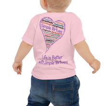 "Load image into Gallery viewer, Pink ""Heart Full of Virtues"" Baby Short Sleeve Tee"